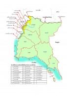 แผนที่แสดงเขตปลอดโรค FMD โดยใช้วัคซีน เขต 2   ( 7 จังหวัดได้แก่ ชลบุรี ระยอง จันทบุรี ตราด สระแก้ว ปราจีนบุรี และฉะเชิงเทรา ( เฉพาะฝั่งด้านตะวันออกของแม่น้ำบางปะกง ตามแผนที่ )
